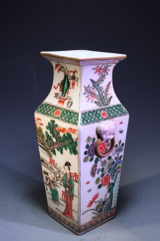 19th C. Chinese Enameled Porcelain Square Vase