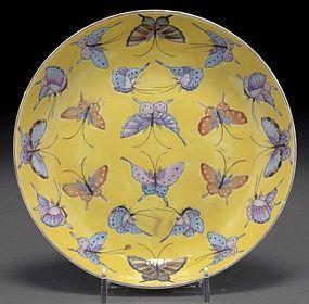 Superb Chinese Qing yellow porcelain Bowl,