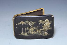 Antique Japanese Engraved Damascene Cigarette Case,