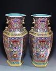 Pair of Chinese Famille Rose Enameled Porcelain Vases,