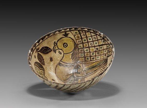 Persian Glazed Pottery Bowl; 12th C.