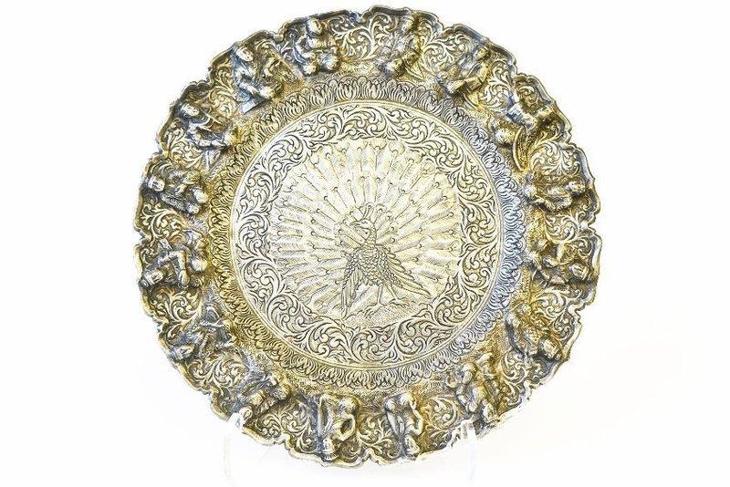Fine Burmese Repousse Silver Dish,