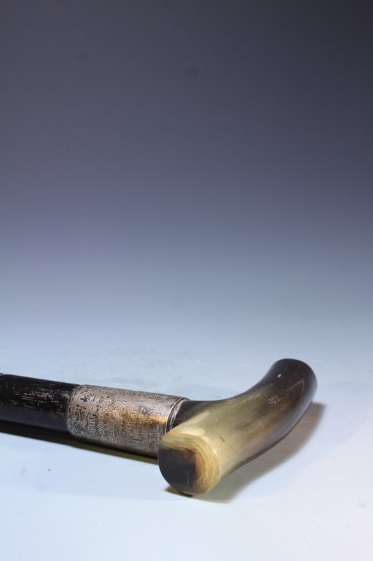 English Silver & Horn Handled Cane, Ca 1911.