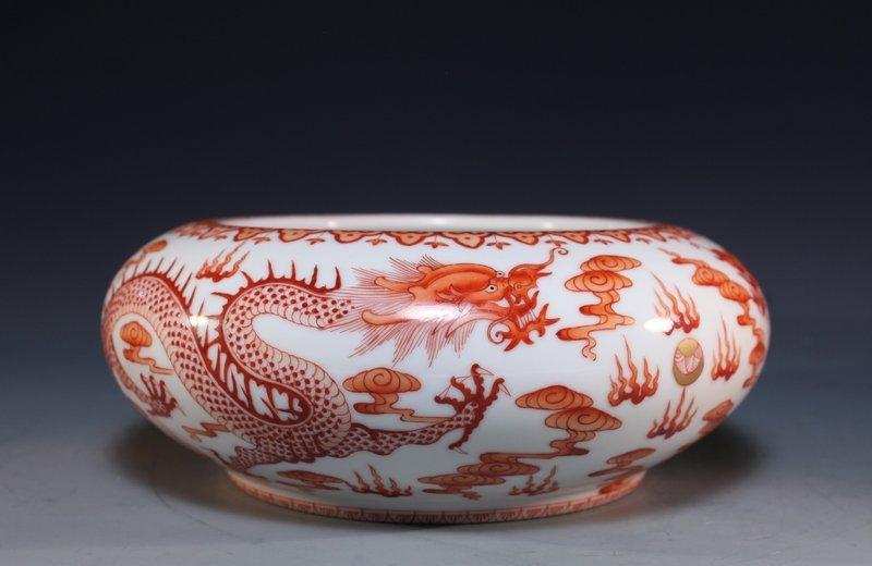 Chinese Republic Iron Red & White Brush Wash.