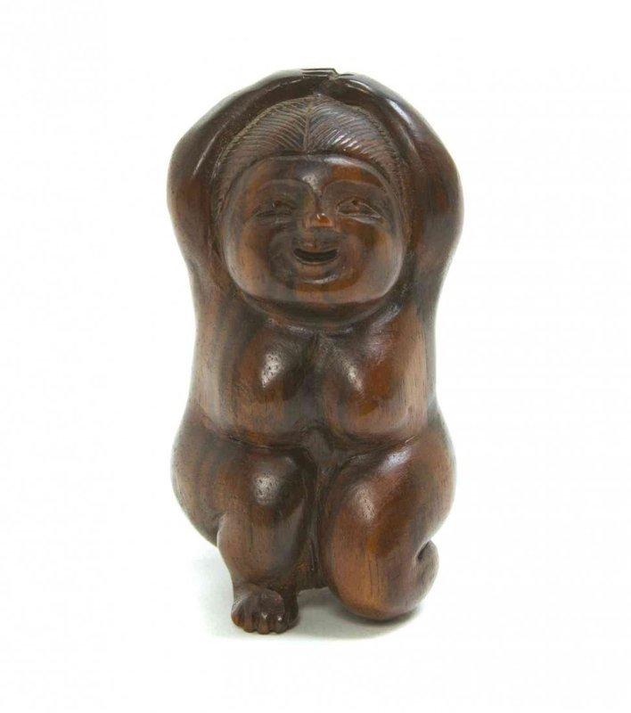 Antique Carved Ebony Netsuke; Okame. Meiji Pd.