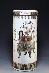 19th C. Chinese Enameled Porcelain Hat Stand.
