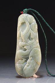 Chinese Celadon Jade Pendant.