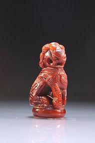 Japanese Carved Horn Netsuke Figure; Shi-Shi, Meiji Pd.