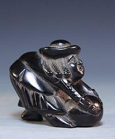 Japanese Carved Wood Netsuke Figure; Dutchman.