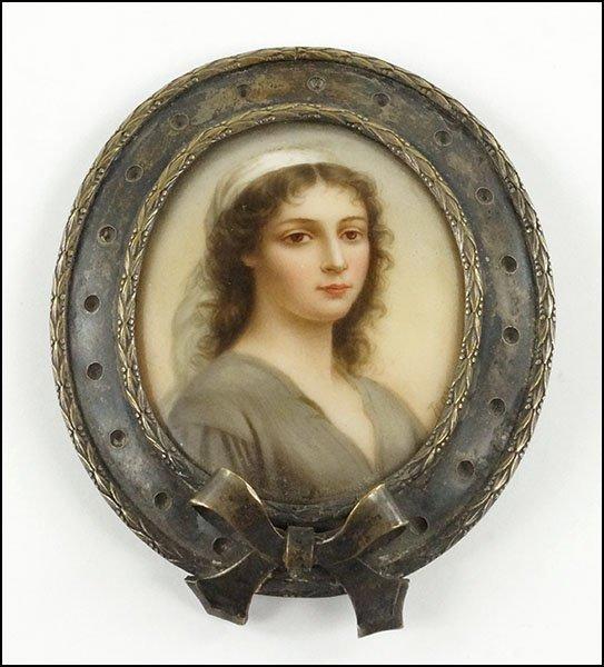 Silver Belt Buckle; Miniature Portrait Paintining.