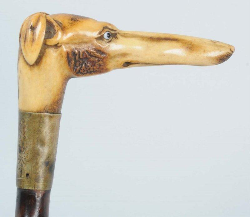 Superb Carved Stag Handled Greyhound Cane.