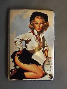 Silver Plate Painted Cigarette Case.