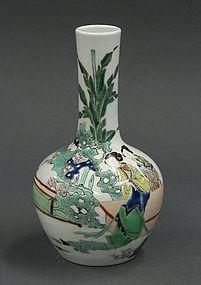 Chinese Famille Verte Enameled Porcelain Vase.