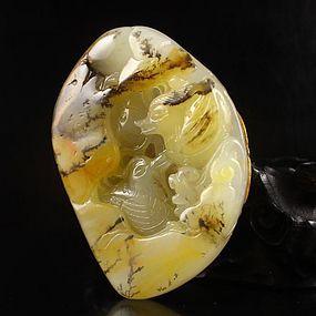 Chinese Natural Jade Pendant; Mandarin Duck.