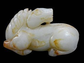Antique Chinese Carved white Jade Figure; Horse.