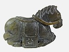Antique Chinese Carved Jade Figure; Horse.