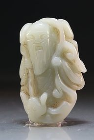 Chinese Carved Jade Figure; Shoulou.