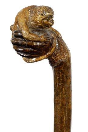 Antique Folk Art Monkey Cane-Ca. 1880.