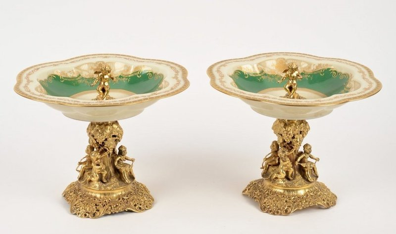 Superb Pair OF German .800 silver Gilt Figural Compotes.