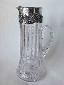 American Sterling Silver & Cut Glass Pitcher by Wallace.