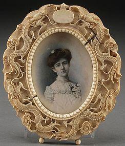 19th C. Miniature Portrait Painting.
