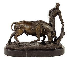 Continental Patinated Bronze Figure of a Matador.