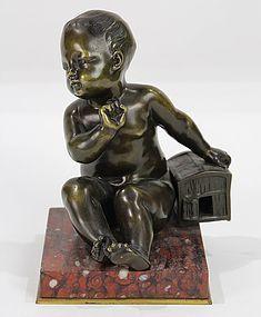 Antique Continental Bronze Sculpture, Baby & Box.