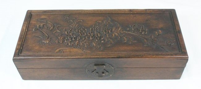 Chinese Carved Wood Document Box.