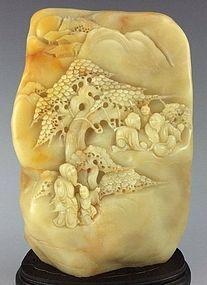 Large Chinese Natural Shoushan Stone Carvings.