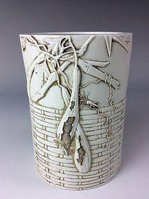 Fine Chinese White Glazed Porcelain Brush Pot