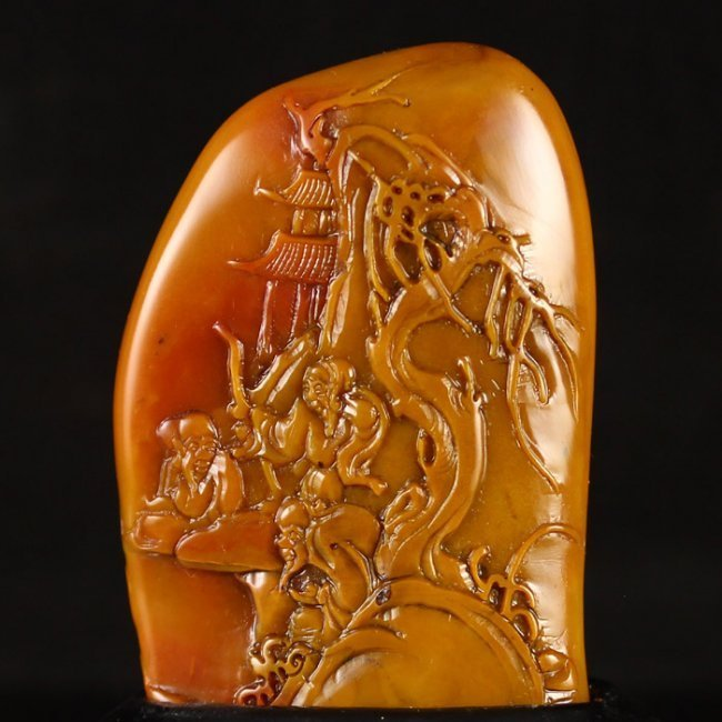 Chinese Low Relief Natural Shoushan Seal Stone.