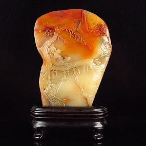 Chinese Low Relief Natural Shoushan Stone Seal.