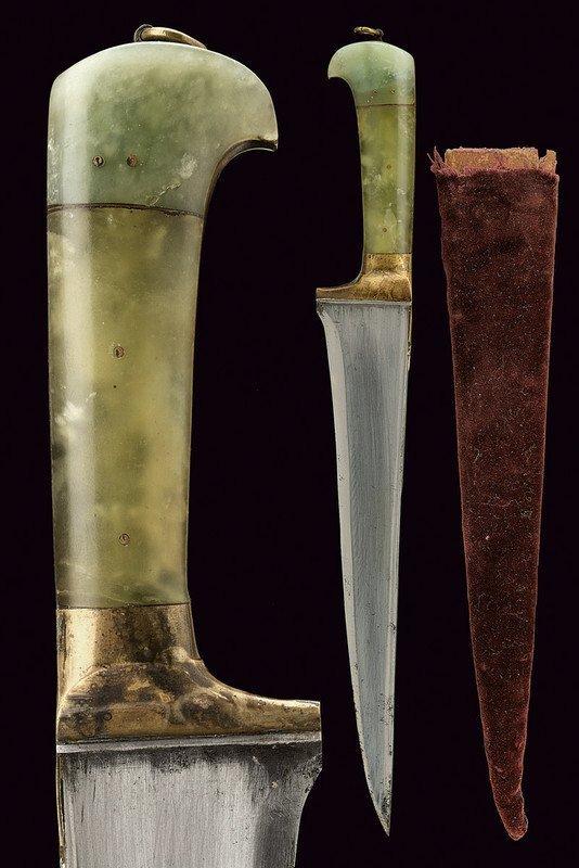19th C. Indian Mughal Jade Handle Dagger