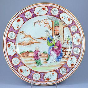 18th C. Chinese Mandarin Enameled Porcelain Plate.