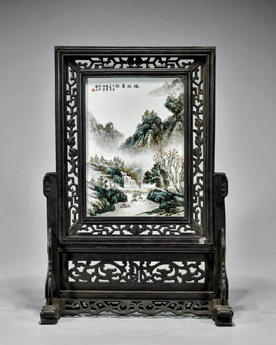 CHINESE ENAMELED PORCELAIN PLAQUE TABLESCREEN