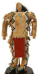 Antique Native American folk art male doll, N. Plains