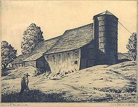Alice Standish Buell etching - Vermont Landmark, signed
