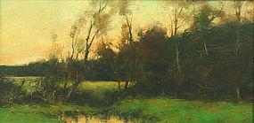 Dennis Sheehan tonalist landscape painting - Sunset