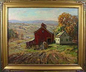 Thomas R. Curtin painting - Red Barn in Early Autumn