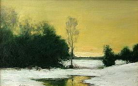 Dennis Sheehan winter sunset painting
