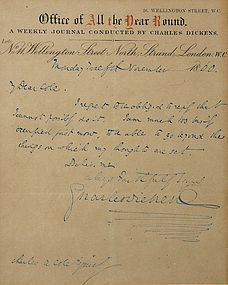 Charles Dickens signed autograph hand written note