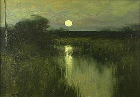 Dennis Sheehan painting - Full Moon On A Marsh