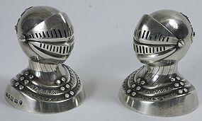 Sterling silver knight's helmet pepper pot shakers, Geo. Unite, 1881
