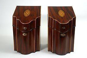 Georgian Hepplewhite period mahogany knife cutlery boxes, c.1800
