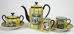 Limoges porcelain coffee set - Native American scenes
