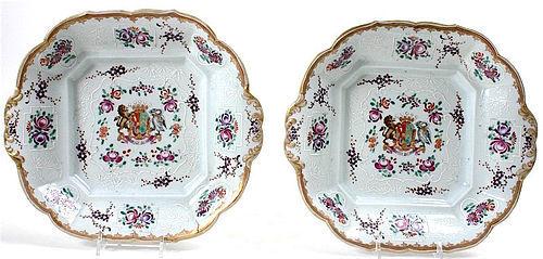 Armorial Porcelain de Paris Chinese export style serving dishes