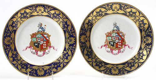 Derby porcelain armorial plates from Kemeys-Tynte dinner service, 1821