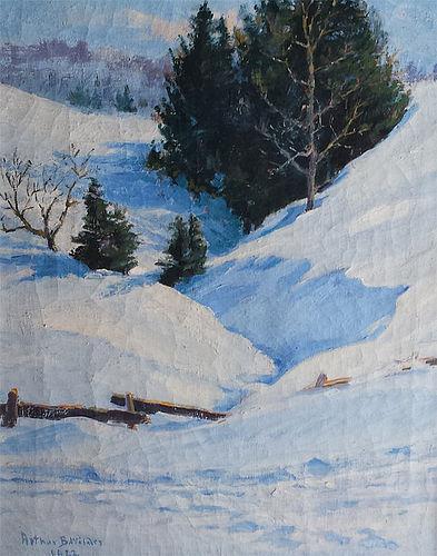 Arthur B. Wilder landscape painting, Deep Snow, 1922