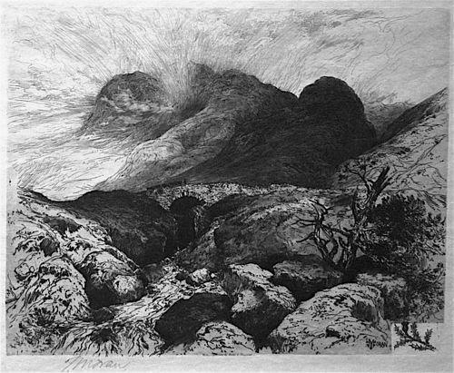 Thomas Moran signed etching Bridge in the Pass of Glencoe, Scotland
