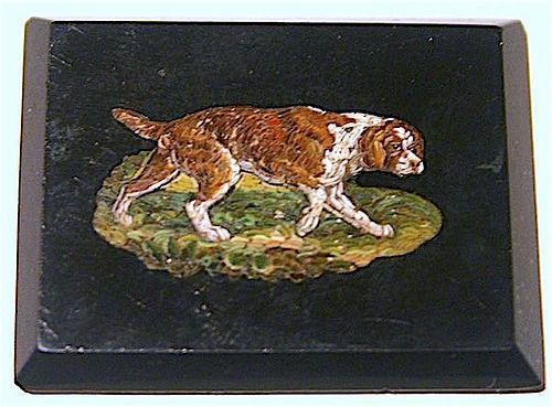 Antique Italian inlaid micro mosaic spaniel dog plaque